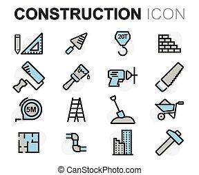 Vector flat line construction icons set