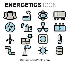 Vector flat line energetics icons set on white background