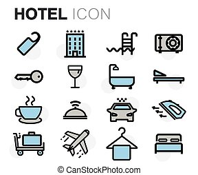 Vector flat line hotel icons set