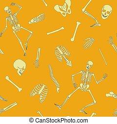 Vector flat line human skeleton seamless pattern with various single bones and skulls.