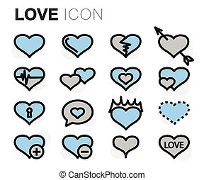 Vector flat line love icons set