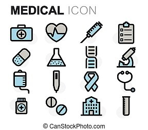Vector flat line medical icons set