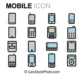 Vector flat line mobile icons set