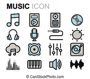 Vector flat line music icons set