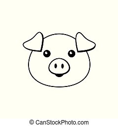 Vector flat line pig face on white