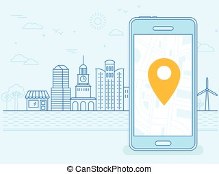 Vector flat linear illustration in blue colors - screen of the mobile phone