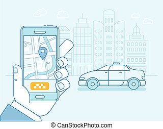 Vector flat linear illustration in blue colors - taxi app on...