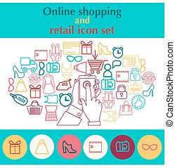 hand holding mobile phone with shopping icon