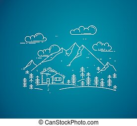 Vector flat linear landscape with house, trees and mountains on blue background.