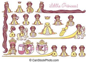 vector flat Little Princess set