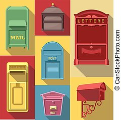 Vector Flat long shadow icon of vintage post box
