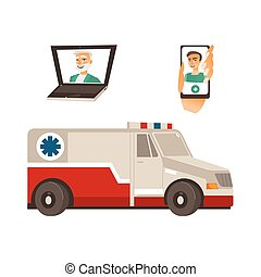 vector flat male doctor in smartphone avatar