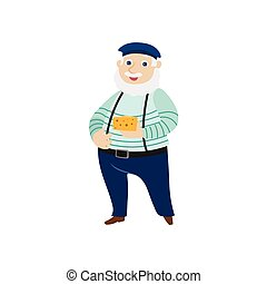 vector flat man ,cheese beret, pants on suspenders