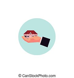 vector flat man hand gholding new house, home