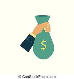 Vector flat man hand holding money bag - Vector flat...