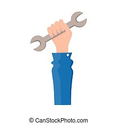 vector flat man hand holding wrench