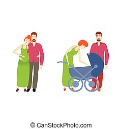 vector flat man, pregnant woman with baby stroller