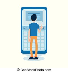 Vector flat man standing behind huge phone
