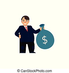 Vector flat man with bag with dollars - Young man in...