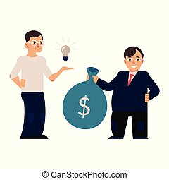 Vector flat man with bag with dollars - Young men in...