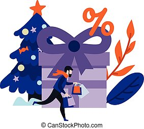 Vector flat man with shopping bags - Flat man in winter...