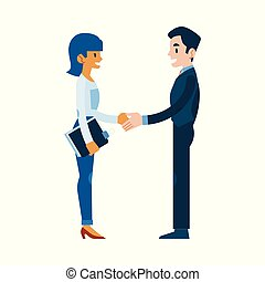 Vector flat man woman business handshake, deal