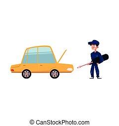 vector flat mechanic boy with screwdriver near car