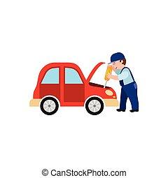 vector flat mechanic man with screwdriver, car