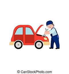 vector flat mechanic man with wrench reparing car
