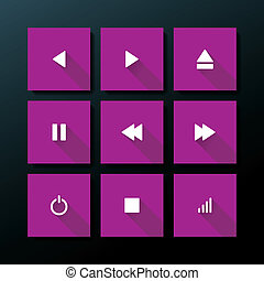 Vector flat media icon set