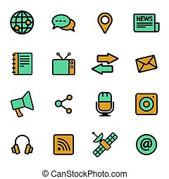 Vector flat media icons set
