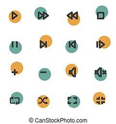 Vector flat media player icons set