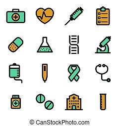 Vector flat medical icons set