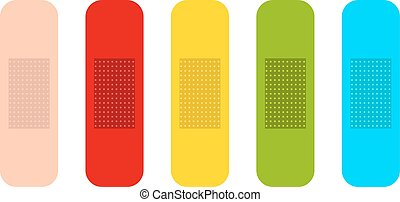 Vector flat medicine plasters set - Colored medicine...