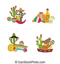 Vector flat Mexico set isolated on white background