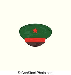 Vector flat military peakless cap with red star - Vector...
