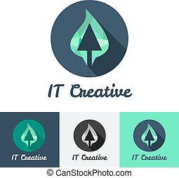 Vector flat minimalistic it or design studio logo set