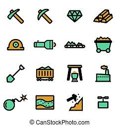 Vector flat mining icons set