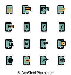 Vector flat mobile banking icons set
