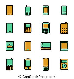 Vector flat mobile icons set