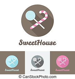 Vector flat modern candy shop or cafe logo
