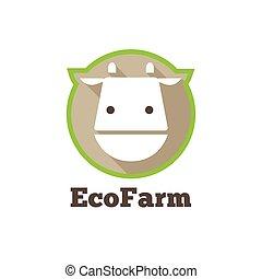 Vector flat modern minimalistic cow logo. Farm products sign