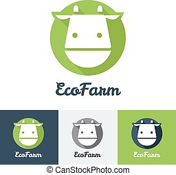 Vector flat modern minimalistic cow logo