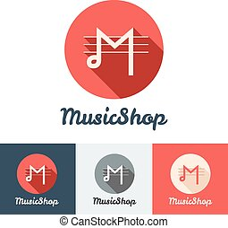 Vector flat modern minimalistic music shop or studio logo