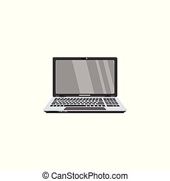 vector flat modern slim laptop icon