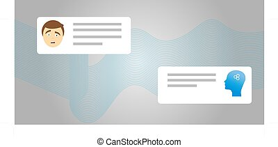 Vector flat modern style cartoon character illustration icon design. Isolated on white background. Chat bot robot concept, Dialog help service. Cute smiling chat bot is written off with a person man.