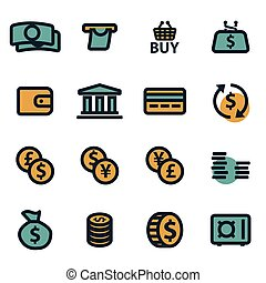 Vector flat money icons set