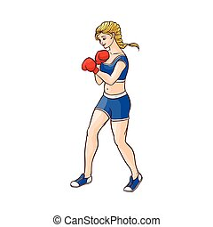 vector flat muscular althlete boxer woman - vector cartoon...