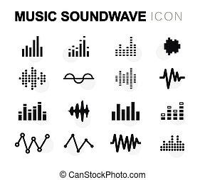 Vector flat music soundwave icons set