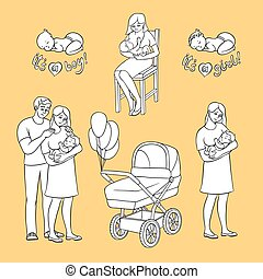 vector flat newborn baby symbols for coloring book